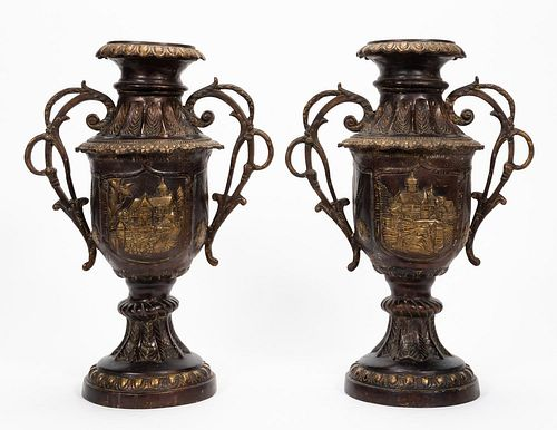 PAIR, BRONZE DOUBLE HANDLED SOUTHEAST ASIAN URNS