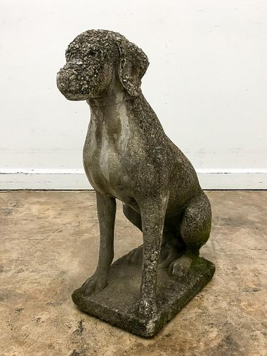 LARGE CONCRETE DOG GARDEN SCULPTURE