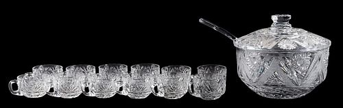 14 PC, CUT GLASS LIDDED PUNCH BOWL SET & LADLE