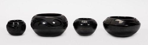 FOUR UNSIGNED SANTA CLARA  BLACKWARE POTTERY VASES