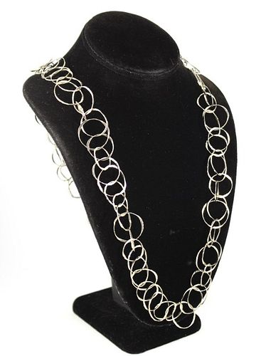 14K White Gold Designer Double Link Necklace