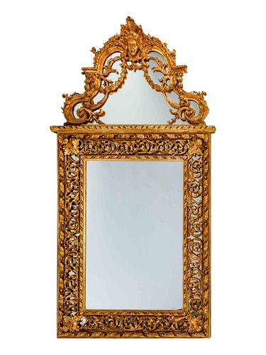 A Pair of Regence Style Giltwood Mirrors Height 97 x width 52 x depth 4 inches.