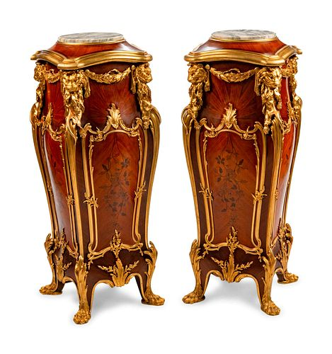 A Pair of Louis XV Style Gilt-Bronze-Mounted Marquetry Pedestals Height 51 x width 19 x depth 19 inches.