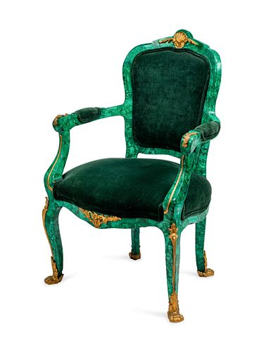 A Louis XV Style Gilt-Bronze-Mounted Malachite-Veneered Fauteuil en Cabriolet Height 40 x width 26 x depth 18 inches.