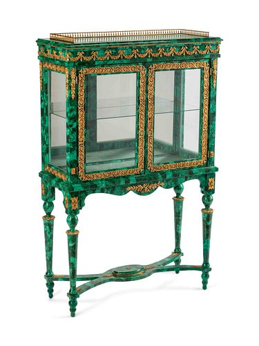 A Louis XVI Style Bronze-Mounted and Malachite-Veneered Vitrine Cabinet Height 59 x width 37 1/2 x depth 15 inches.