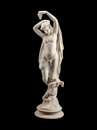 An Italian Marble Figure of Flora and an Infant Attendant Height 61 x width 16 x depth 17 inches.