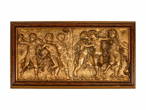 Two Italian Gilt-Bronze Plaques Depicting A Procession of Cupids Height 17 x width 30 1/2 inches.