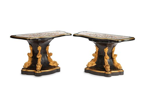 A Pair of Italian Empire Style Parcel-Gilt and Inlaid Marble Consoles Height 35 x length 55 x depth 24 inches.