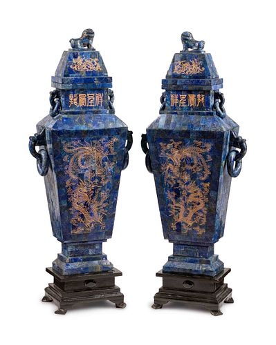A Pair of Chinese Inlaid and Engraved Lapis Lazuli-Veneered Vases and Covers Height 47 x width 18 x depth 9 inches.