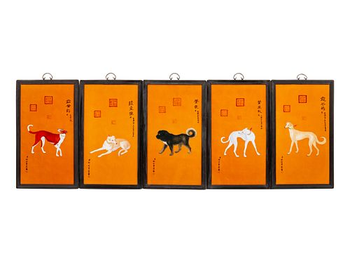 A Set of Ten Chinese Porcelain Plaques Depicting the Emperor's Dogs Dimensions of each panel 34 x 20 inches.