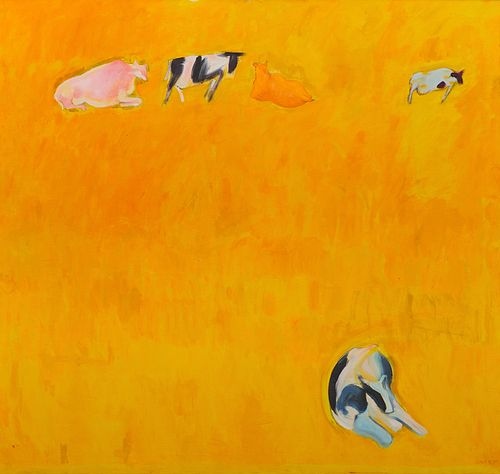 BERNARD CHAET, (American, 1924-2012), Cows on Yellow Ground, oil on canvas, 57 x 60 in., frame: 57 1/2 x 60 1/2 in.