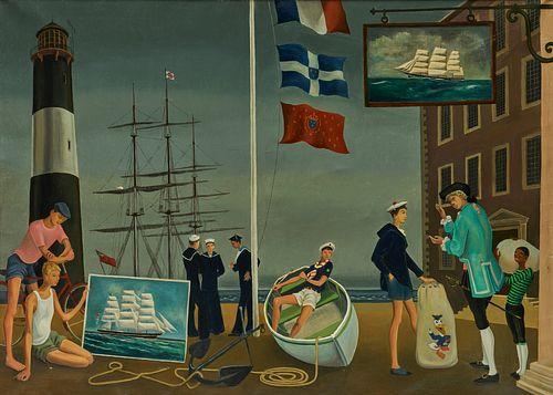 ERIC (RICCO) WASSMER, (Swiss, 1915-1972), Garçons, 1953, oil on canvas, 28 1/2 x 39 1/2 in., frame: 33 1/2 x 44 1/2 in.