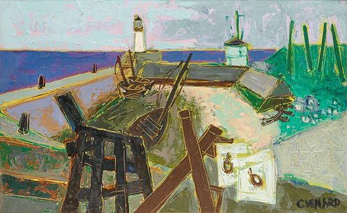 CLAUDE VENARD, (French, 1913-1999), Inside Harbor #1, oil on canvas, 15 x 24 1/4 in., frame: 22 1/2 x 31 1/4 in.