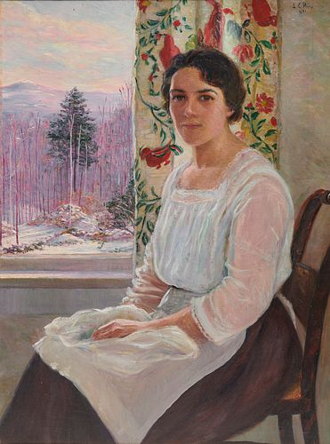 LILLA CABOT PERRY, (American, 1848-1933), Marie at the Window, Winter, 1921, oil on canvas, 40 x 30 in., frame: 46 1/2 x 36 1/2 in.