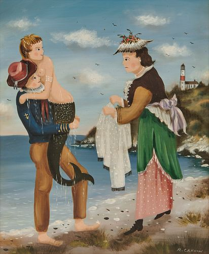 RALPH EUGENE CAHOON, JR., (American, 1910-1982), At the Shore, oil on masonite, 12 x 10 in., frame: 15 x 12 3/4 in.
