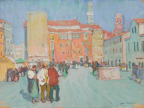 JANE PETERSON, (American, 1876-1965), Campo Santa Margherita, Venice, gouache, sheet: 18 x 24 in., frame: 26 x 32 in.