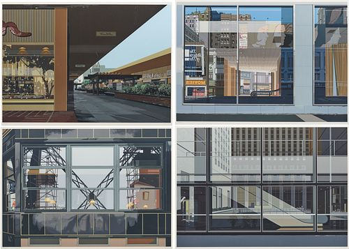RICHARD ESTES, (American, b. 1932), Manhattan, Movies, Eiffel Tower Restaurant, and Lakewood Mall, from Urban Landscapes III, 1981, four color screen