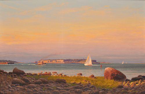 JOSEPH MCGURL, (American, b. 1958), Boston Harbor, oil on canvas, 24 x 36 in., frame: 31 1/2 x 43 1/2 in.