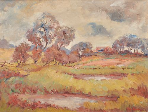 TUNIS PONSEN, (American, 1891-1968), Landscape, oil on canvas, 20 x 25 in., frame: 25 1/2 x 30 1/2 in.