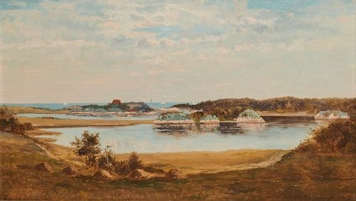 FRANK HENRY SHAPLEIGH, (American, 1842-1906), Cohasset Harbor, 1879, oil on canvas laid on board, 14 x 24 in., frame: 24 1/2 x 34 1/2 in.