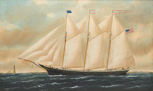 WILLIAM PIERCE STUBBS, (American, 1842-1909), The O.D. Witherell, oil on canvas, 22 x 36 in., frame: 27 1/4 x 41 1/4 in.