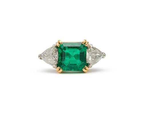 Platinum, 18K Gold, Emerald, and Diamond Ring