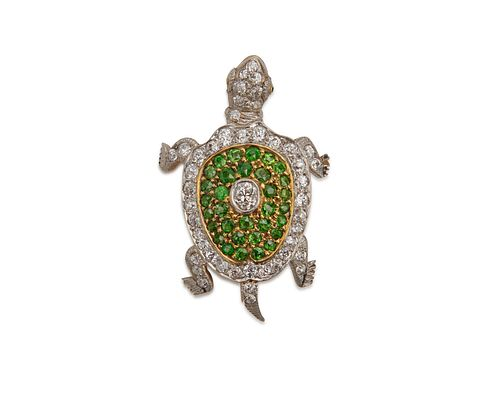 18K Gold, Platinum, Demantoid Garnet, and Diamond Turtle Pendant/Brooch, retailed by A. STOWELL & CO.