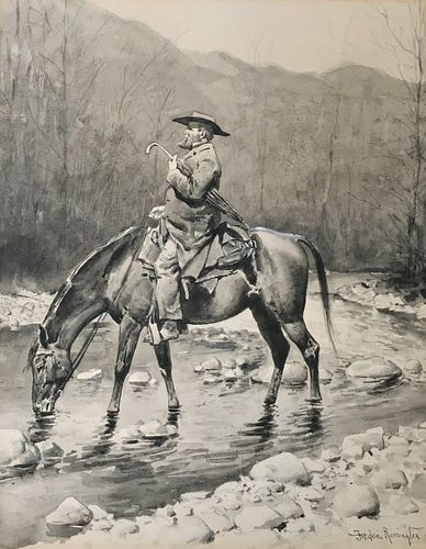 FREDERIC SACKRIDER REMINGTON, (American, 1861-1909), The Circuit Rider, watercolor en grisaille, sight: 22 1/2 x 17 1/2 in., sheet: 23 1/4 x 18 1/4 in
