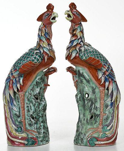 Pair Chinese Export Enameled Porcelain Phoenixes