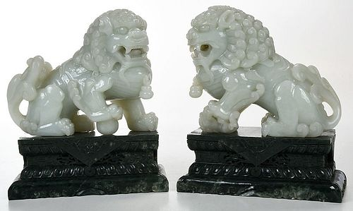 Pair Chinese Jade Foo Dogs, Spinach Jade Plinths