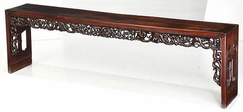 Chinese Fine Carved Hardwood Bench