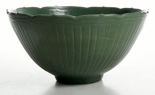 Large Chinese Celadon Glazed Lotus From Bowl