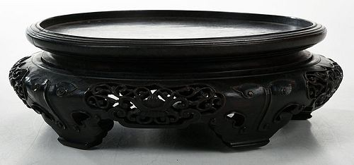 A Chinese Carved Hardwood Stand, with Two Others