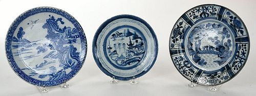 Three Asian Blue and White Porcelain Plates