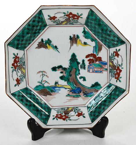 Chinese Famille Verte Octagonal Porcelain Plate