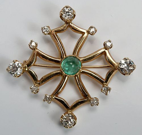 14kt. Diamond and Emerald Brooch