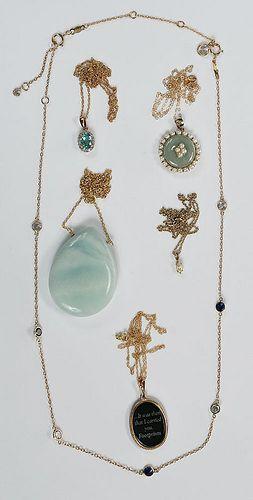 Six 14kt. Gemstone Necklaces