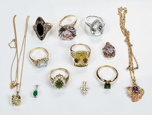 Twelve Pieces 10kt. Jewelry
