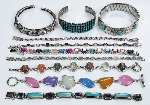 Ten Sterling Silver Bracelets