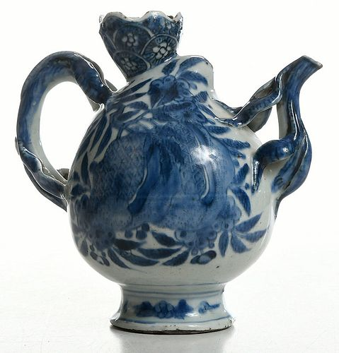 A Chinese Blue and White Peach Form Wine Pot