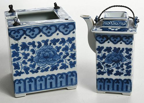 Chinese Blue and White Teapot and Fitted Warmer