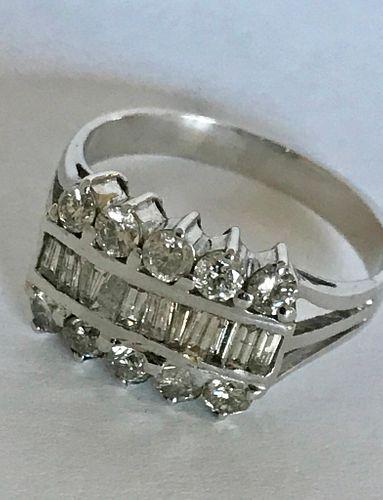 Mid-Century Modern 14k White Gold & Diamond Ring