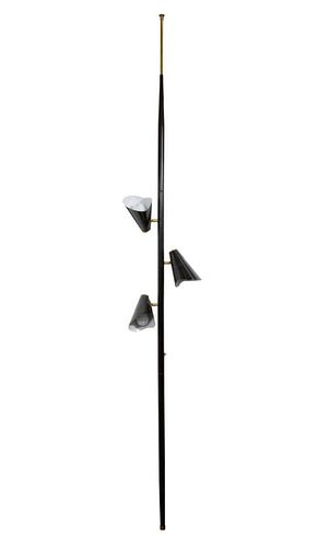 Mid-Century Pole Lamp with Black Enamel Shades