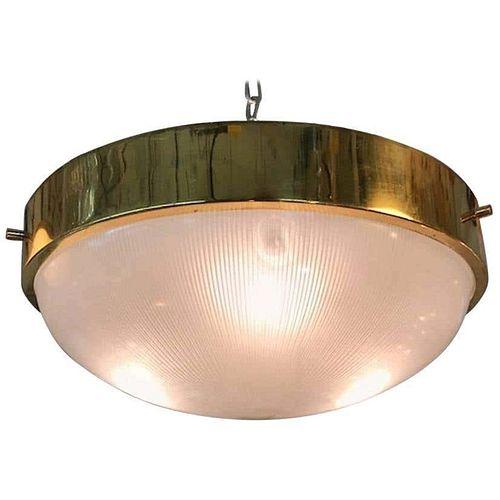 Italian 1950s Brass & Glass Ceiling Mount Light