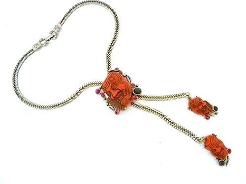 Selro Red Noho Devil Mask Slide Necklace, Vintage