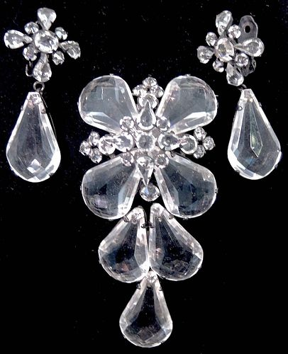 Schreiner Lucite Brooch & Teardrop Earrings Set