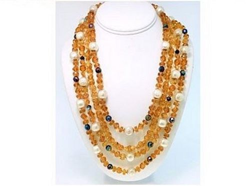 Vogue Faux Amber & Faux Pearl 4-Strand Necklace