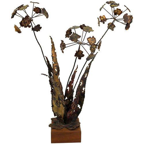 Silas Seandel Brutalist Metal Floriform Sculpture
