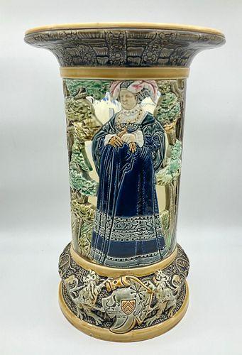 French Polychrome Majolica Vase