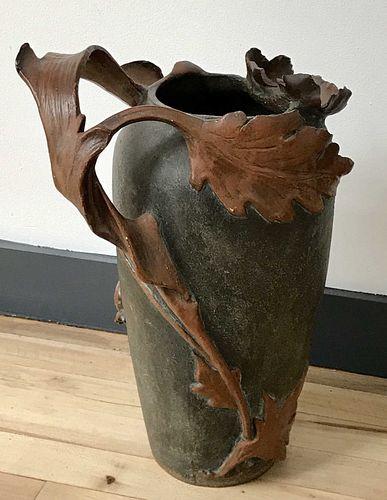 Art Nouveau Ceramic Foliate Tall Rustic Vase